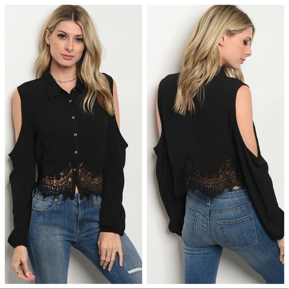 1a642a5a9b524 Black Lace Open Cold Shoulder Button Down Top